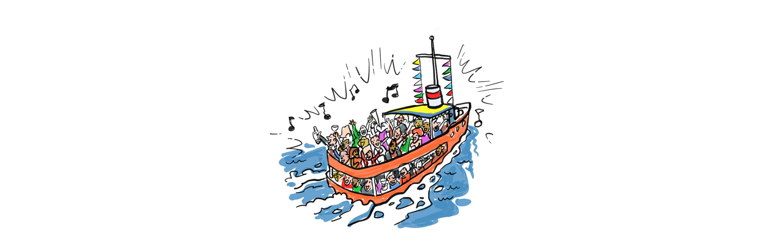 people on boat drawing